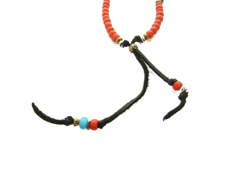 M.COHEN ANITQUE BEADS SILVER LEATHER NECKLACE